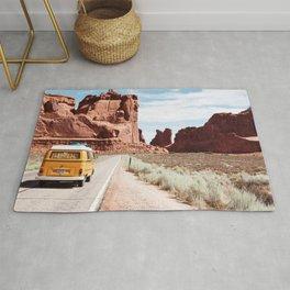 Yellow Van Desert Road Trip Photography Rug