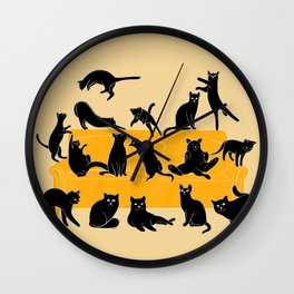 Black Cats on Sofa | Illustration | Beige Wall Clock