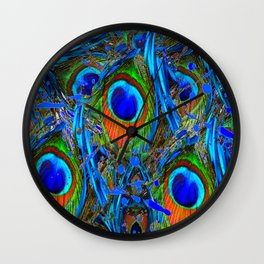 FEATHERY BLUE PEACOCK ABSTRACTED  FEATHERS ART PILLOWS Wall Clock