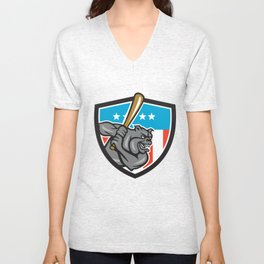 Bulldog Baseball Batting USA Crest Cartoon Unisex V-Neck