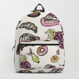 cakes donuts and fruits Backpack