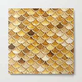 Gold Trendy Glitter Mermaid Scales Metal Print