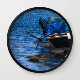 Boats at seaside in the turkish blue aegean sea Wall Clock