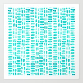 Abstract rectangles - turquoise Art Print