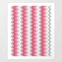 Chevron Pink & Grey Art Print