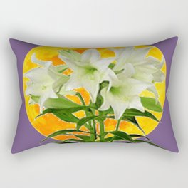 EASTER LILIES ON LILAC GOLDEN MOON ABSTRACT Rectangular Pillow