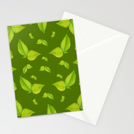 Green leafs pattern  Stationery Cards