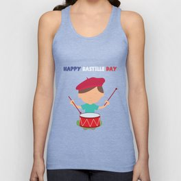 Little Kid and French Drum - Bastille Day Unisex Tank Top