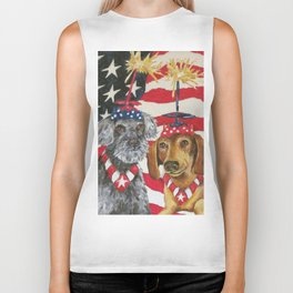 4th of July Celebration Dog Style Biker Tank