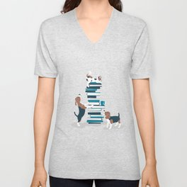 Life is better with books a hot drink and a friend // grey background brown white and blue beagles and cats and turquoise cozy details Unisex V-Neck