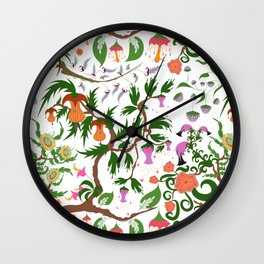 Fairy floral seamless pattern with unusual plants, trees and flowers Wall Clock