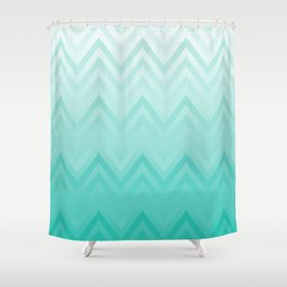 Fading Teal Chevron Shower Curtain
