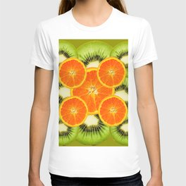 GREEN KIWI & JUICY ORANGE SLICES MODERN ART T-shirt