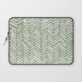 Boho Herringbone Pattern, Sage Green and White Laptop Sleeve