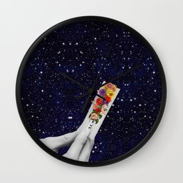 Rolling Flower in Space Wall Clock