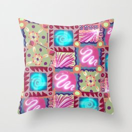 Retro granny squares Throw Pillow