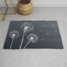 Black and White Wishing upon a Dandelion Rug