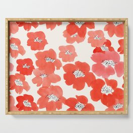Camellia Flowers in Red Serving Tray