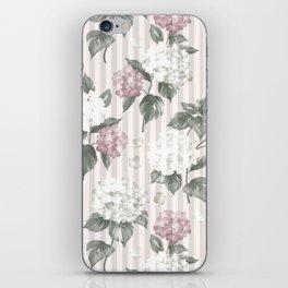 Bohemian pastel pink green floral stripes pattern iPhone Skin