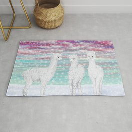 alpacas in the snow Rug