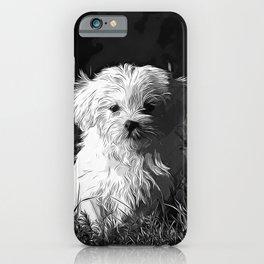 maltese dog vector art black white iPhone Case