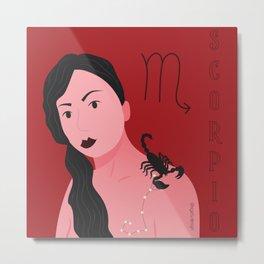 Scorpio Zodiac Woman Metal Print