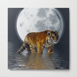 Moonlite Night Tiger Metal Print