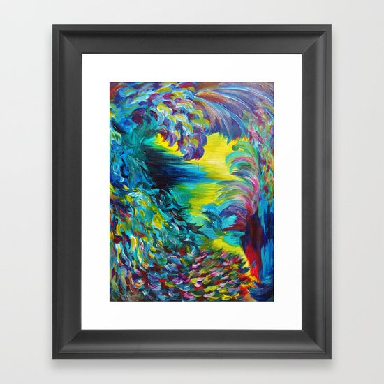 FLIGHT ON TAP - Whimsical Colorful Feathers Fountain Peacock Abstract Acrylic Painting Purple Teal Framed Art Print
