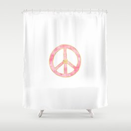 Pink Gold Peace Sign With Heart Shower Curtain