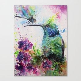 Hummingbird And Dragonfly Canvas Print