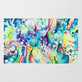 Parts of Reality Were Missing, But Which Parts? - Watercolor Painting Rug