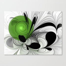 Abstract Black and White with Green Canvas Print