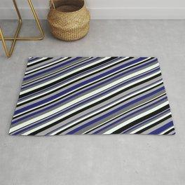 Eye-catching Dark Grey, Midnight Blue, Dim Gray, Mint Cream & Black Colored Pattern of Stripes Rug