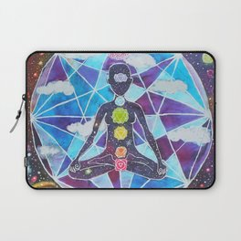 Meditation Chakra Space Tapestry Rainbow Galaxy Psychedelic Painting Art (Intergalactic Beings) Laptop Sleeve
