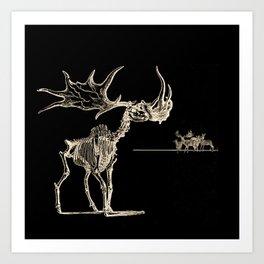 Vintage Elk Skeleton with Friends Art Print