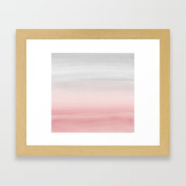 Touching Blush Gray Watercolor Abstract #1 #painting #decor #art #society6 Framed Art Print