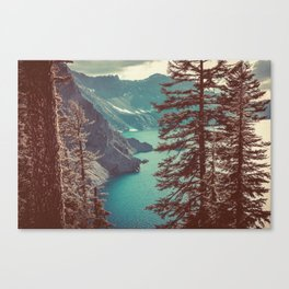 Vintage Blue Crater Lake and Trees - Nature Photography Canvas Print