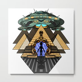 Egyptian Pyramids Alien Abduction UFO Metal Print