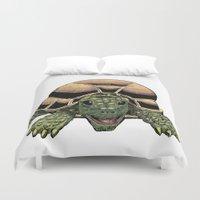 tortoise Duvet Covers featuring Happy Tortoise by Ken Coleman