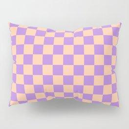Deep Peach Orange and Lavender Violet Checkerboard Pillow Sham