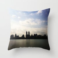 central park Throw Pillows featuring Central Park by Isobel Rae