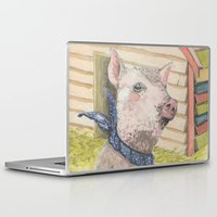 kevin russ Laptop & iPad Skins featuring Kevin the piggy by Jia Guo