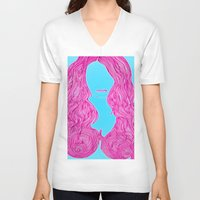 candy V-neck T-shirts featuring Candy by Lior Blum