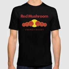 Red Mushroom Energy Boost Mens Fitted Tee Black MEDIUM