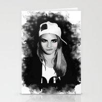 cara delevingne Stationery Cards featuring Cara Delevingne by BeckiBoos