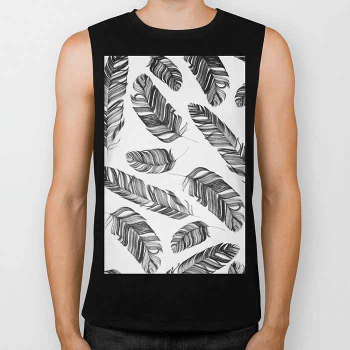 Black and white feathers Biker Tank