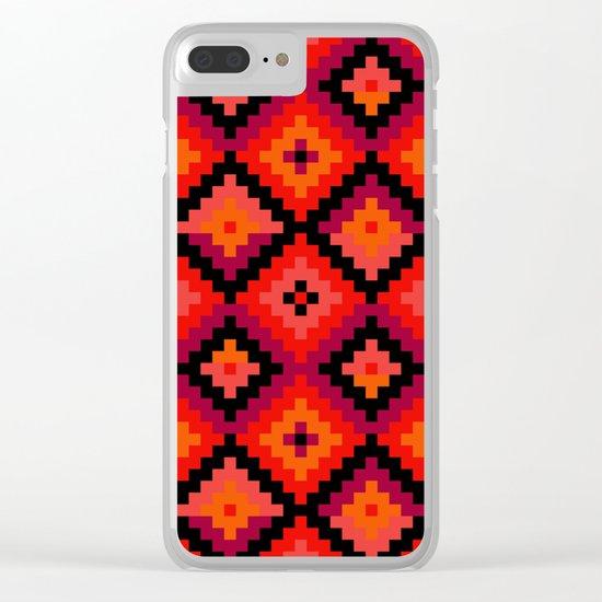Aztec pattern - orange, pink, fuchsia Clear iPhone Case