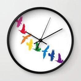 Rainbow Ravens Wall Clock