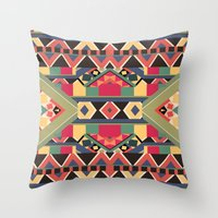 calvin Throw Pillows featuring B / O / L / D by Bianca Green