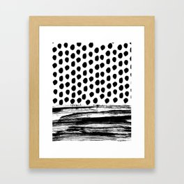 Zoe - Black and white dots, stripes, painted, painterly, hand-drawn, bw, monochrome trendy design Framed Art Print